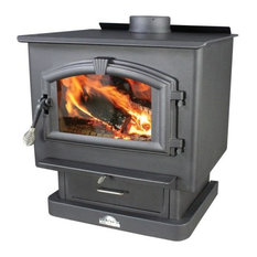 "21"" Log Large Wood Stove, Pedstal With Blower"