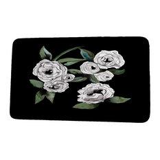 "Fickle Florals Radiant Rose Floral Print Bath Mat, Black, 18""x30"""