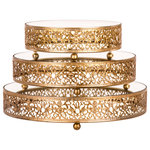 Amalfi Décor - 3-Piece Round Mirror-Top Decorative Tray Dessert Stand Set, Gold - Dimensions: