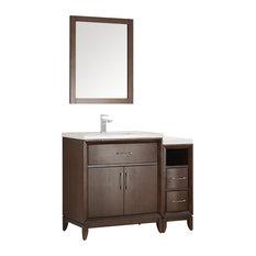 """Fresca Cambridge 42"""" Antique Coffee Traditional Bathroom Vanity With Mirror"""