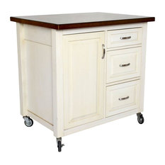 Kitchen Cart in White and Chestnut Finish