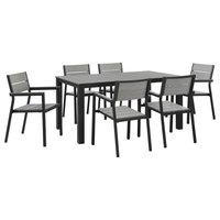 Maine 7-Piece Outdoor Aluminum Dining Set, Brown Gray