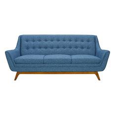 Janson Mid-Century Sofa Champagne Wood Finish And Blue Fabric