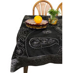 """Banarsi Designs - Ornamental Embroidered Square Tablecloth, Mystic Black, 44x87"""" - Crafted in India, this gorgeous embroidered tablecloth features a very detailed decorative & striking pattern with beads that have been artistically hand stitched, showcasing beautiful artistic qualities through an imaginative hand-embroidered design process known as Cut Dana."""