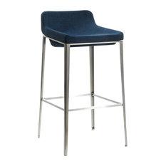 Modrest Adhil Modern Blue Fabric Bar Stool