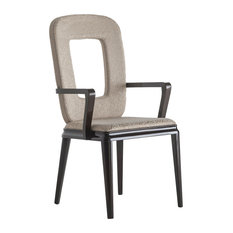 Wooden Chair With Armrests and Hole in Backrest, Glossy Dark Brown