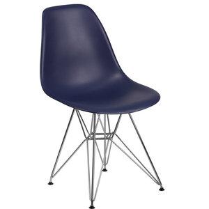 f595f8779ba Molded Plastic Side Chair Wire Leg Base Black Shell By Lemoderno ...