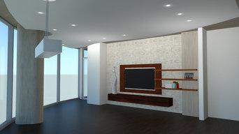TV Panel, AV Cabinets, & Floating Shelves