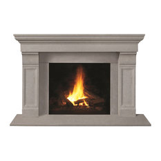 Fireplace Stone Mantel 1147.511 With Filler Panels, Limestone, With Hearth Pad