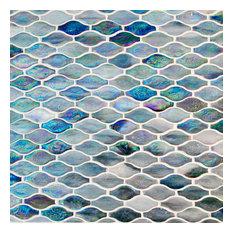 Wavy Shaped Glass Mosaic Tile, Violet/Gray, Sample