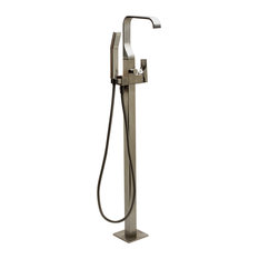 Single Lever Floor Mounted Tub Filler Mixer With Hand Held Shower Head, Brushed