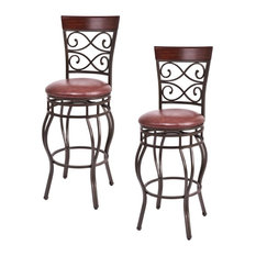 Costway Set of 2 Vintage Bar Stools Swivel Padded Seat Bistro Dining Pub Chair