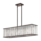 Aruba 7-Light Horizontal Chandelier Vintage Oiled Brushed Bronze Clear
