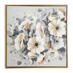 Large Square Gray, Gold and White Flower Acrylic Painting In Gold Frame