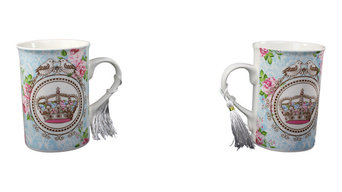 Royal Wreath Mugs, Set of 2, Crown and Roses