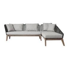 Netta Sectional Sofa Right, Dark Gray Cord and Weathered Eucalyptus