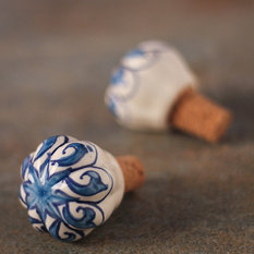- Handpainted Ceramic Wine Bottle Stopper (Set of 2) - Wine Stoppers and Aerators