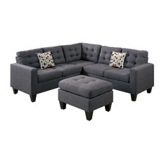 - Modular Sectional Sofa With Ottoman, Gray - Sectional Sofas