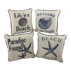 Set of 4 Nautical Seashell Beach Themed Accent Pillows