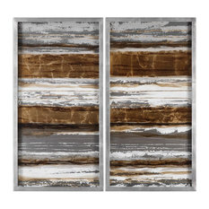 Metallic Industrial Painting, Wall Art Panels Silver Gold Copper, 2-Piece Set