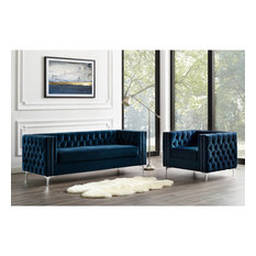 Jeannie Velvet 3-Seat Sofa Button Tufted With Metal Legs, Navy