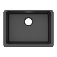 "Winpro Undermount Kitchen Sink, Single Bowl, Granite Quartz, Black, 25"""