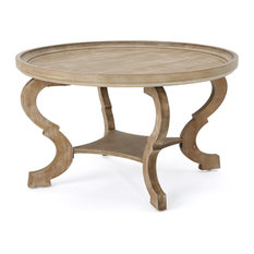 GDFStudio   Alteri Finished Faux Wood Circular Coffee Table, Natural   Coffee  Tables
