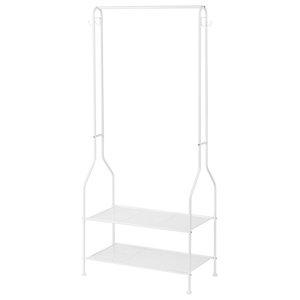 Coat Rack, 2 Open Shelves, Top Rod 4-Hook, Contemporary Design, White