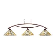 "Bow 3 Light Bar In Bronze, 16"" Sandhill Tiffany Glass"