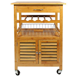 Modern 3-Tier Rolling Trolley Cart, Natural Bamboo Wood With Bottom Cabinet