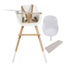 Ovo White Luxe High Chair With Seat Pad, Grey Stars, Taupe Extensions