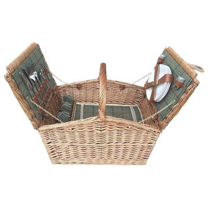 Green Tweed Double Lidded Fitted Picnic Basket