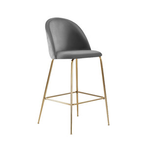 Millennial Brass Velvet Upholstered Dining Bar Stool, Soft Grey, 65 cm