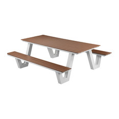 Lukas Outdoor Picnic Table, White Frame With Teak Top