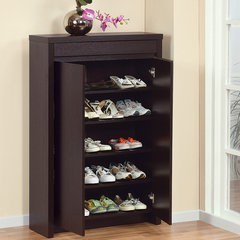 desk and shoe cabinet OR a bench with shoe storage?