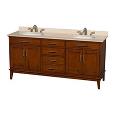 """Hatton 72"""" Light Chestnut Double Vanity With Ivory Marble Top and Oval Sink"""