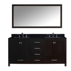 "72"" Double Bathroom Vanity,Espresso,Black Galaxy Granite Top,Square Sink,Mirror"