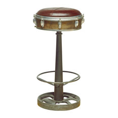 Finish Wright Leather, Cast Iron Bar Stool With Brown