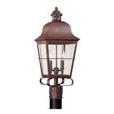 Sea Gull Lighting 2-Light Outdoor Post Lantern, Weathered Copper