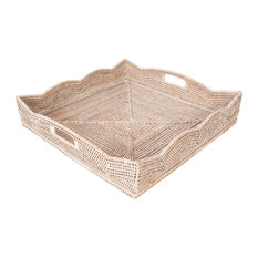 Artifacts Rattan™ Scallop Collection Square Tray With Cutout Handles, White Wash
