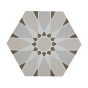 "8""x9"" Menara Handmade Cement Tiles, Set of 12, Pinks/Brown"