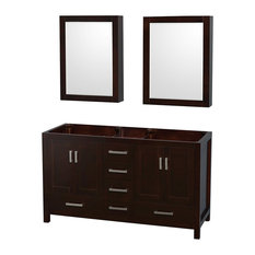 Sheffield Double Bathroom Vanity No Countertop No Sink, Espresso, 60""