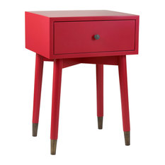 East At Main's Weeks Brown Acacia Wood Square Accent Table Red