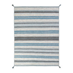 ANDES Canyon Turquoise Hand Made Cotton Chenille Area Rug, Blue, 2'x3'
