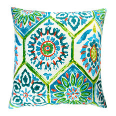 "Artisan Pillows Outdoor 18"" Green Blue Modern Geometric Throw Pillow, Set of 2"
