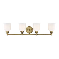 Melrose 4 Light Bathroom Vanity Light in Warm Brass