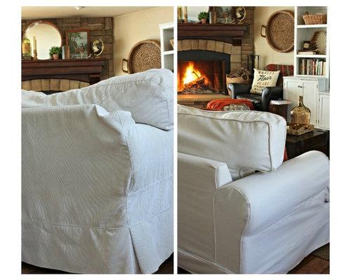 Ekeskog 3 Seater Slipcovers In Herringbone Ivory Fabric