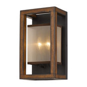 CAL Lighting WL-3536-2 Mission Rubber Wood And Metal Wall Sconce In Woode