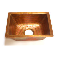 Rectangular Bar Copper Sink Undermount, With Solid Copper Drain