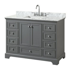 "Deborah 48"" Single Bathroom Vanity, Dark Gray, Carrara Top, Square Sink"
